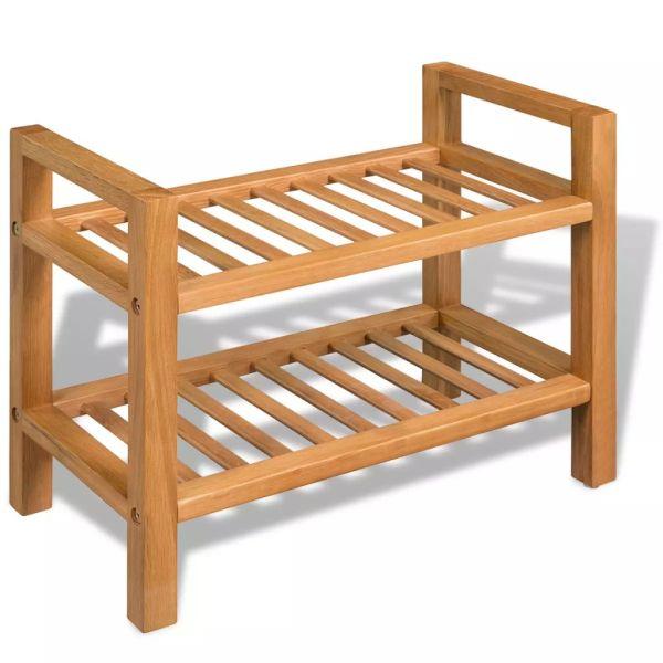 vidaXL Pantofar cu 2 rafturi, 49,5 x 27 x 40 cm, lemn masiv de stejar