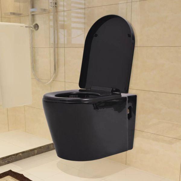 vidaXL Vas toaletă cu montare pe perete, ceramică, negru