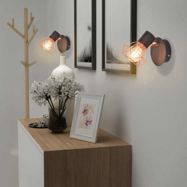 Lampă de perete 2 buc, E14, negru și arămiu