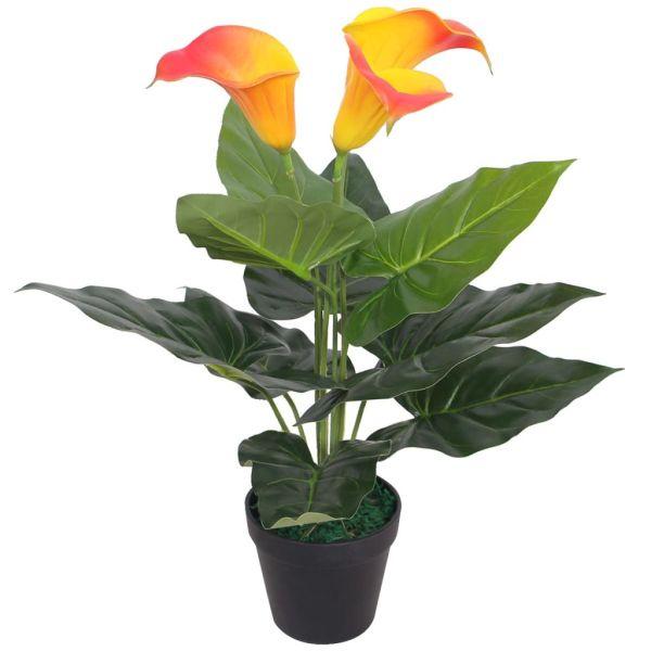 vidaXL Floare de crin cală artificială cu vază, 45 cm, roșu și galben