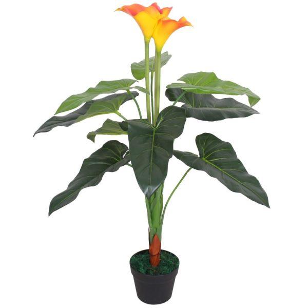vidaXL Floare de crin cală artificială cu vază, 85 cm, roșu și galben
