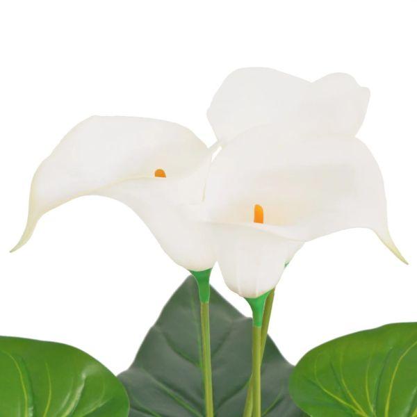 Floare de cală crin artificială cu ghiveci, 85 cm, alb