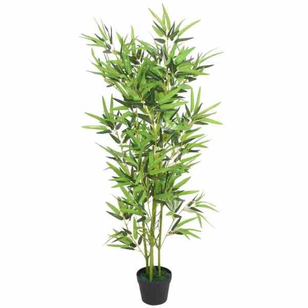vidaXL Bambus artificial cu ghiveci 120 cm, verde