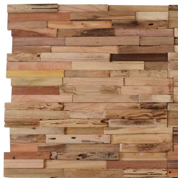Panouri placare pereți 1m², 10 buc., lemn de tec reciclat