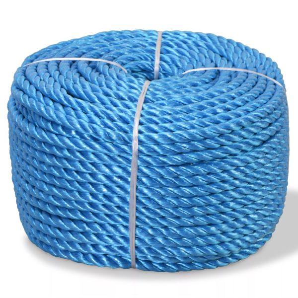 vidaXL Frânghie împletită polipropilenă 12 mm 100 m, albastru