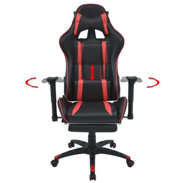 Scaun birou rabatabil, design racing, suport picioare, roșu