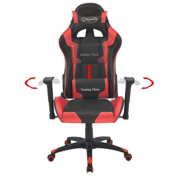vidaXL Scaun birou rabatabil, design racing, piele artificială, roșu