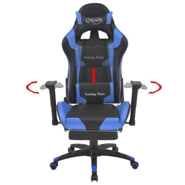 vidaXL Scaun birou rabatabil, design racing, suport picioare, albastru