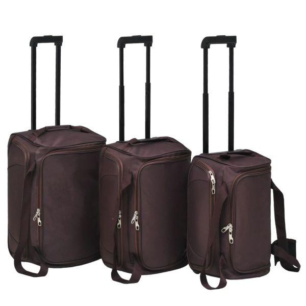 vidaXL Set de valize, 3 buc., Cafeniu