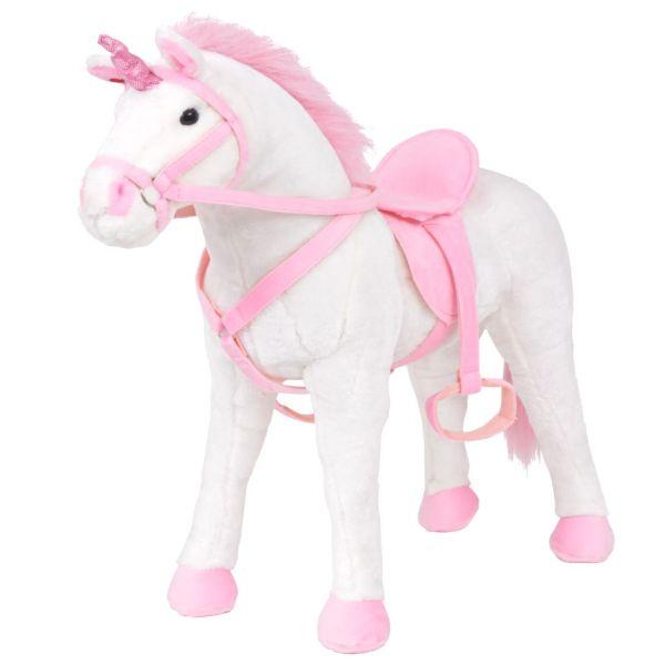 vidaXL Jucărie Unicorn din pluș Alb și Roz XXL