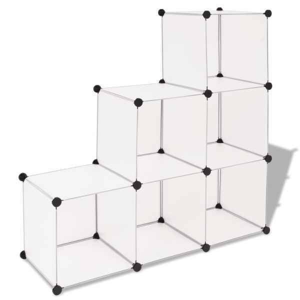 vidaXL Dulap de depozitare tip cub, 6 compartimente, alb