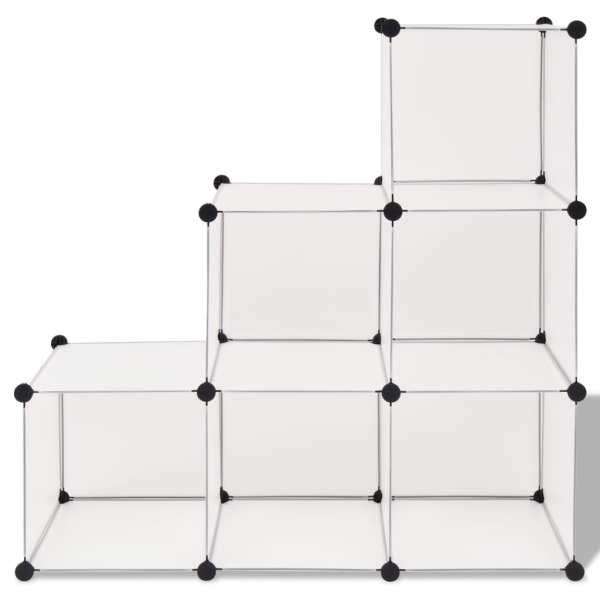Dulap de depozitare tip cub, 6 compartimente, alb