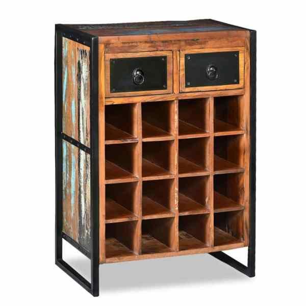 vidaXL Suport pentru 16 sticle de vin, Lemn masiv reciclat