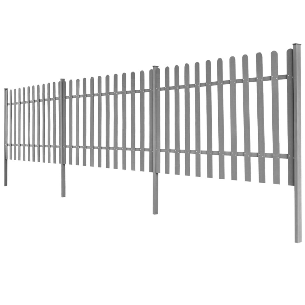 vidaXL Gard din șipci cu stâlpi, 3 buc., 600 x 100 cm, WPC
