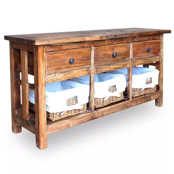 vidaXL Bufet din lemn masiv reciclat, 100 x 30 x 50 cm