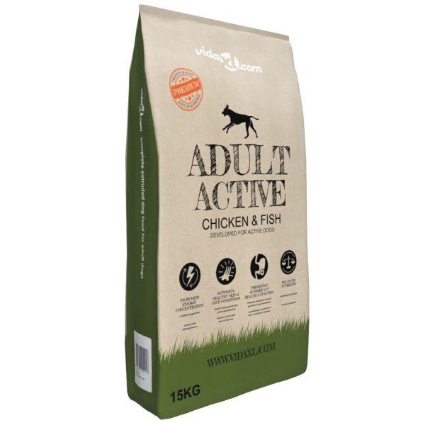 vidaXL Hrană uscată pentru câini Adult Active Ch cken & Fish 15 kg