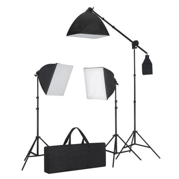 vidaXL Kit studio foto cu iluminare softbox și masă foto