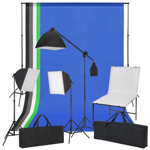 vidaXL Kit studio foto cu masă foto, lumini și fundaluri