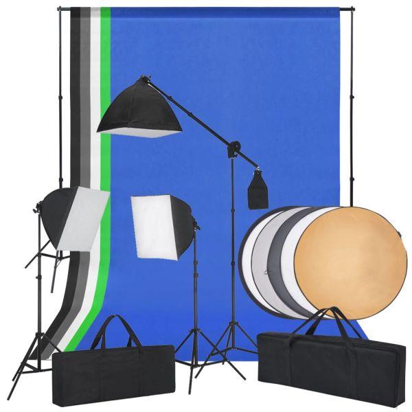 vidaXL Kit studio foto cu lumini softbox, fundaluri și un reflector