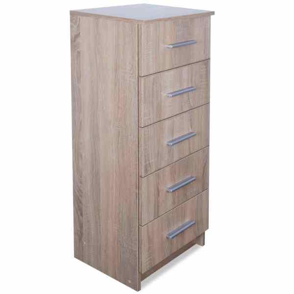 vidaXL Comodă înaltă cu sertare din PAL 41x35x106 cm, stejar