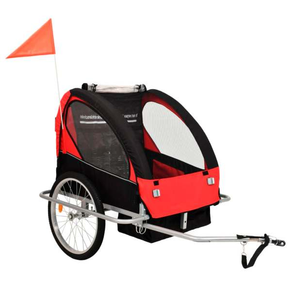 vidaXL Remorcă bicicletă & cărucior copii 2-în-1, negru și roșu