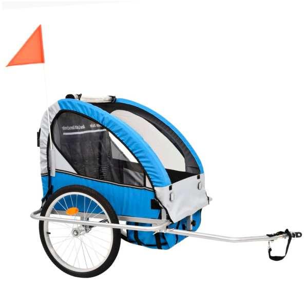vidaXL Remorcă bicicletă & cărucior copii 2-în-1, Albastru și Gri