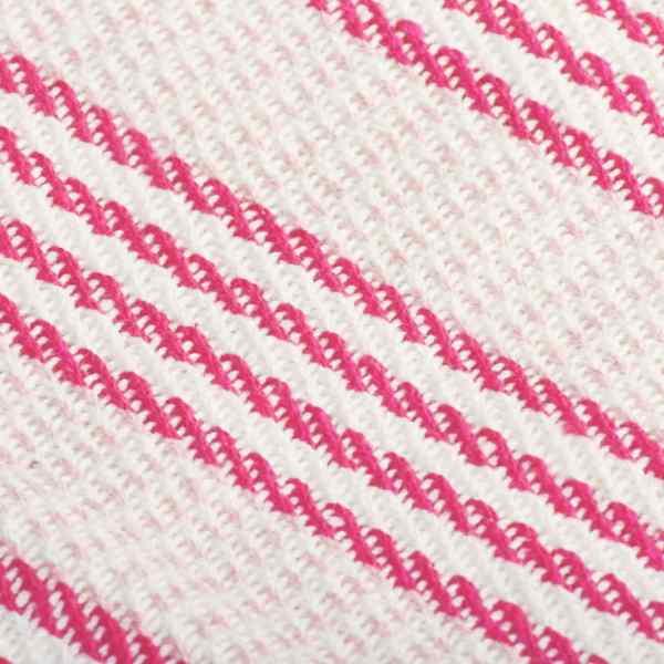 Pătură decorativă cu dungi, bumbac, 125 x 150 cm, roz și alb
