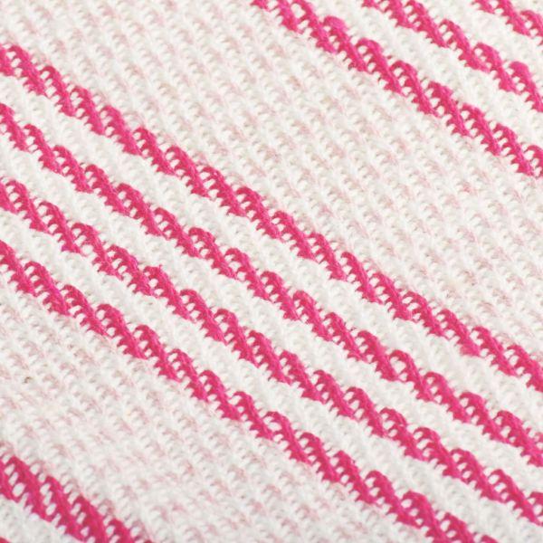 Pătură decorativă cu dungi, bumbac, 220 x 250 cm, roz și alb