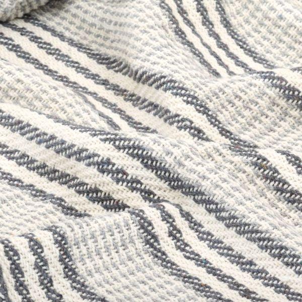 Pătură decorativă cu dungi, bumbac, 125 x 150 cm, gri și alb