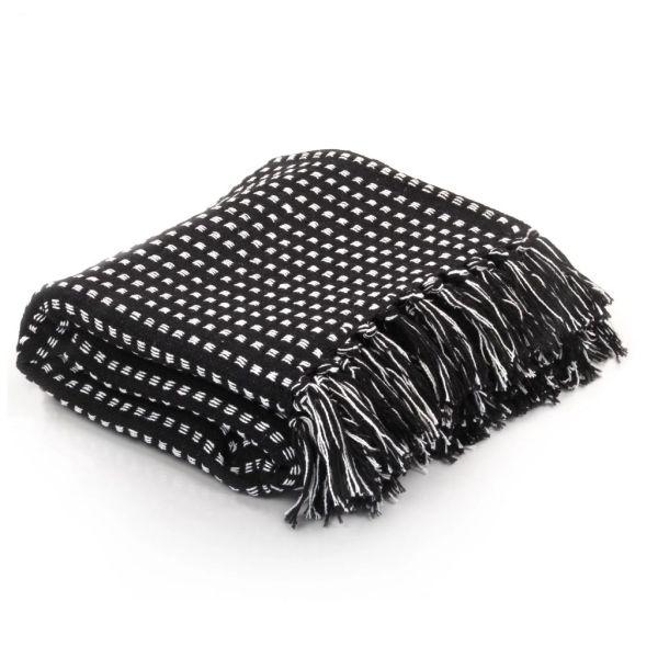 vidaXL Pătură decorativă cu pătrățele, bumbac, 220 x 250 cm, negru