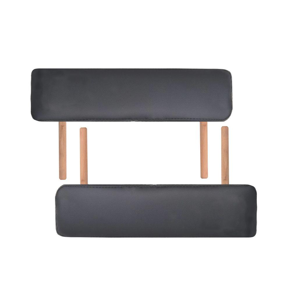 Masă de masaj pliabilă cu 2 zone, 10 cm grosime, Negru