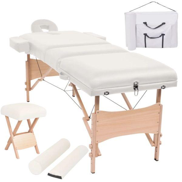 vidaXL Set taburet și masă masaj pliabilă 3 zone, grosime 10 cm, alb