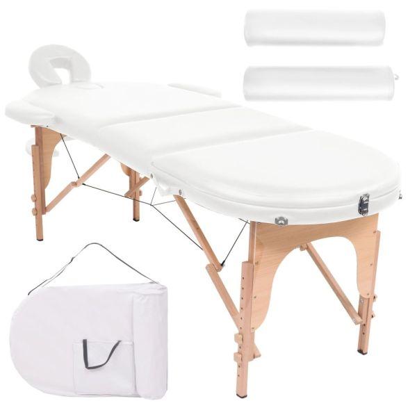 vidaXL Masă masaj pliabilă, 4 cm grosime, cu 2 perne, alb, oval