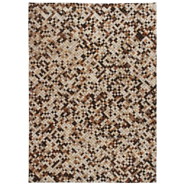 vidaXL Covor piele naturală, mozaic, 80×150 cm, pătrat, maro/alb