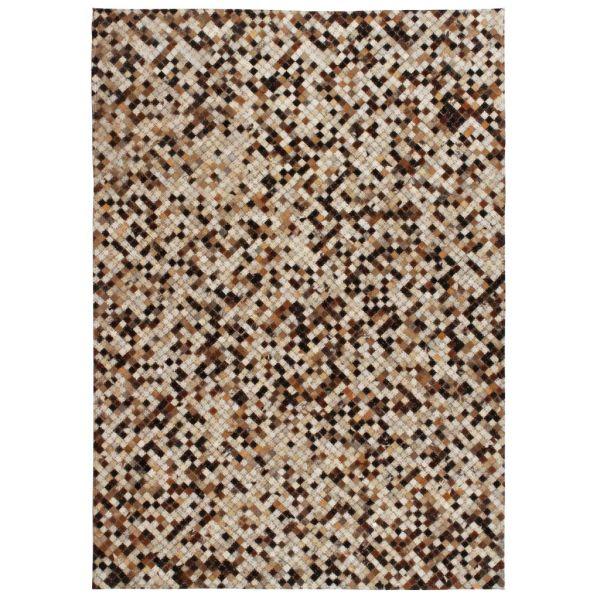vidaXL Covor piele naturală, mozaic, 120×170 cm, pătrat, maro/alb