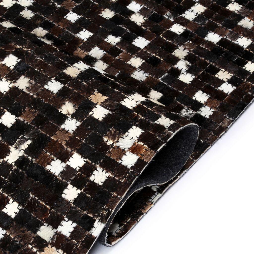 Covor piele naturală, mozaic, 160×230 cm, pătrate, negru/alb