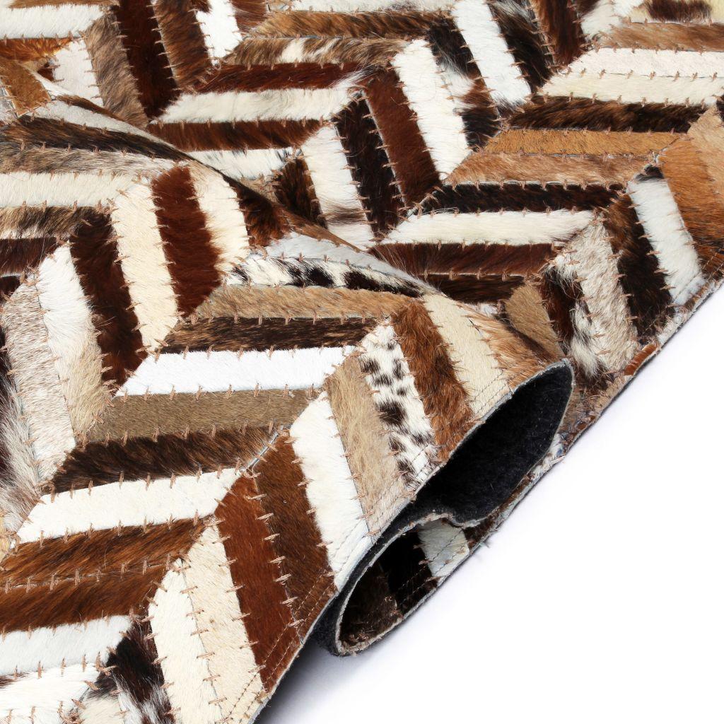 Covor piele naturală, mozaic 80×150 cm zig-zag Maro/alb
