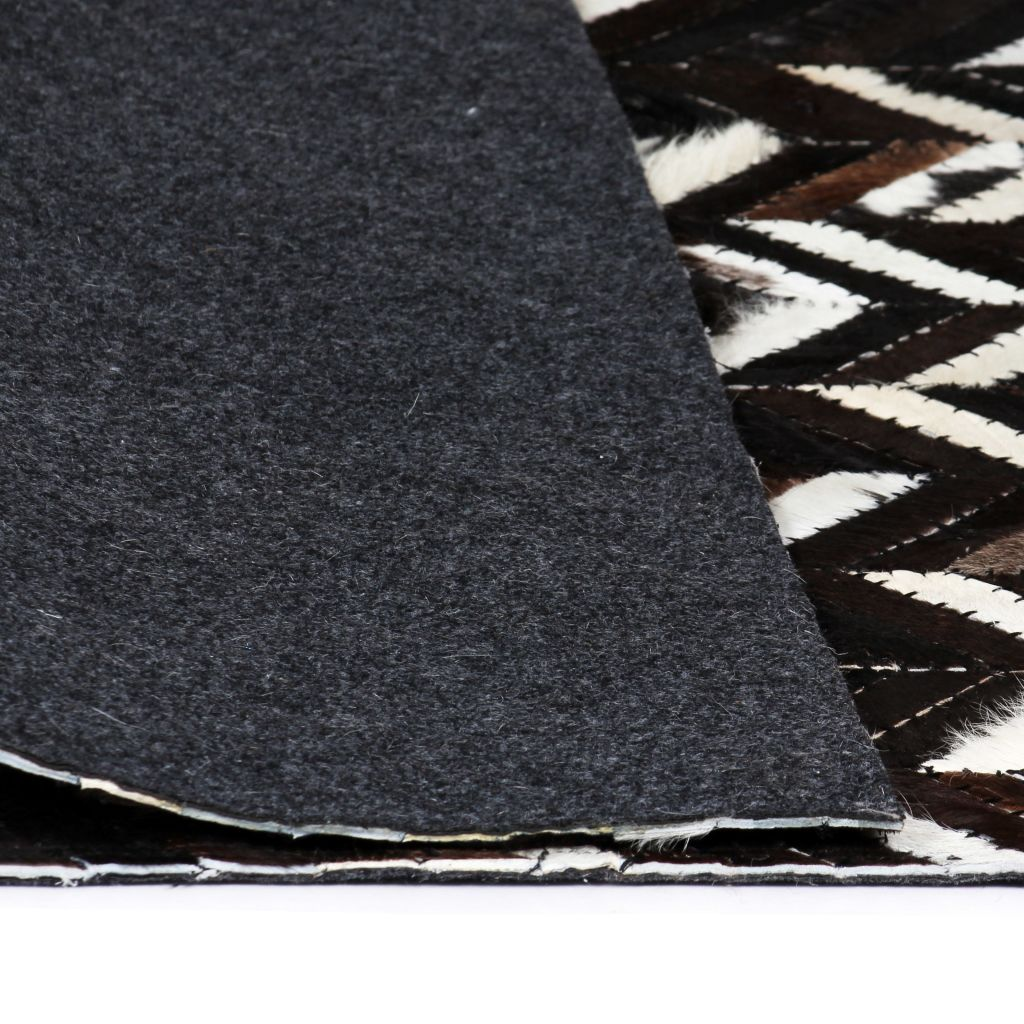 vidaXL Covor piele naturală, mozaic, 80×150 cm zig-zag Negru/Alb