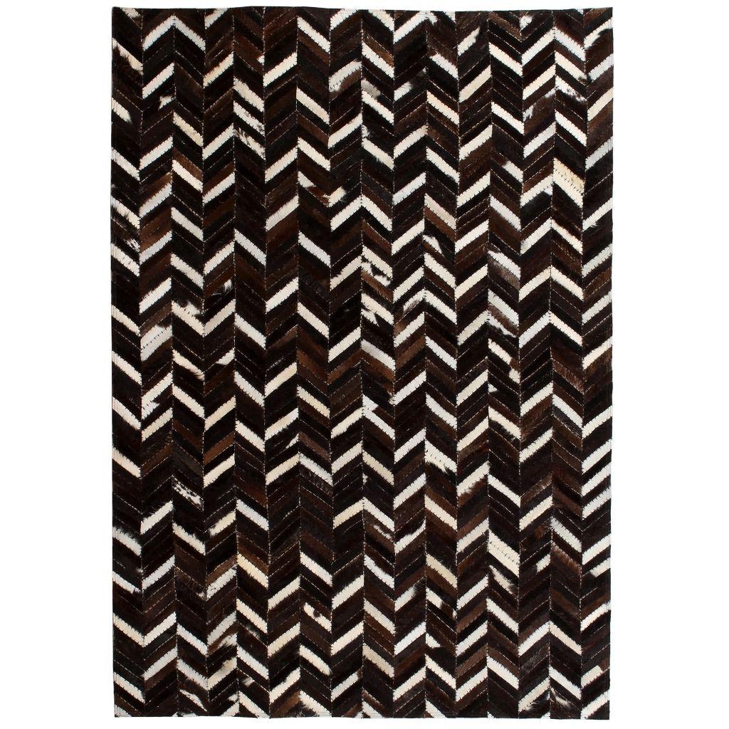 vidaXL Covor piele naturală, mozaic, 120×170 cm zig-zag Negru/alb