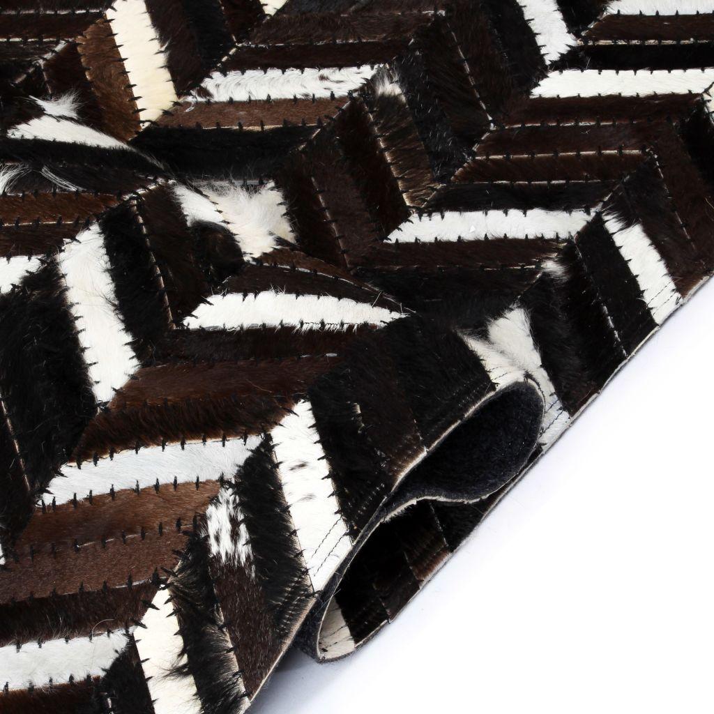 Covor piele naturală, mozaic, 120×170 cm zig-zag Negru/alb