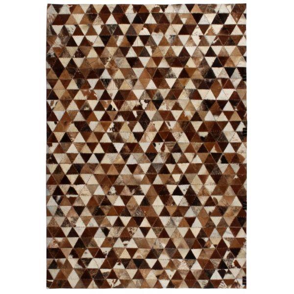 vidaXL Covor piele naturală, mozaic, 80×150 cm Triunghiuri Maro/alb
