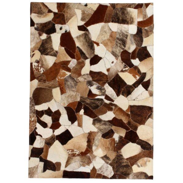 vidaXL Covor piele naturală, mozaic, 120×170 cm Maro/alb