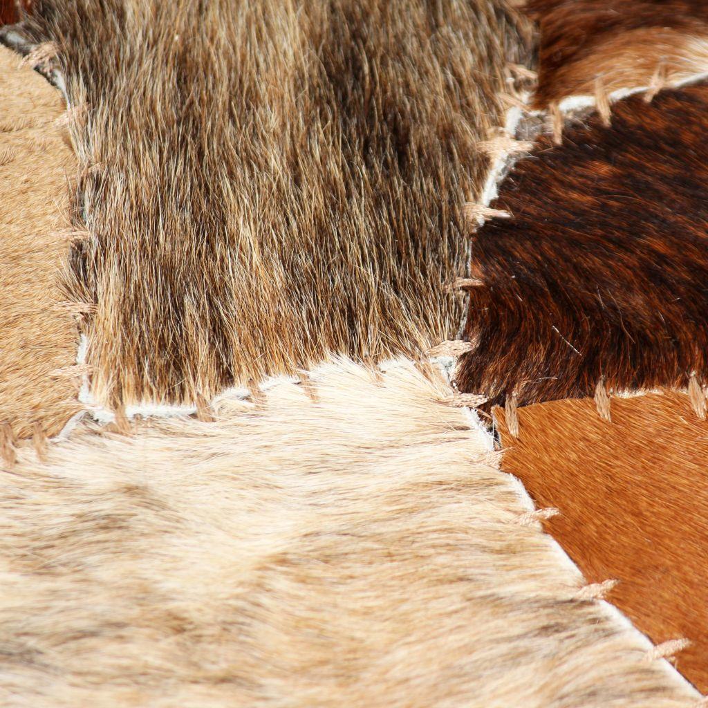Covor piele naturală, mozaic, 120×170 cm Maro/alb