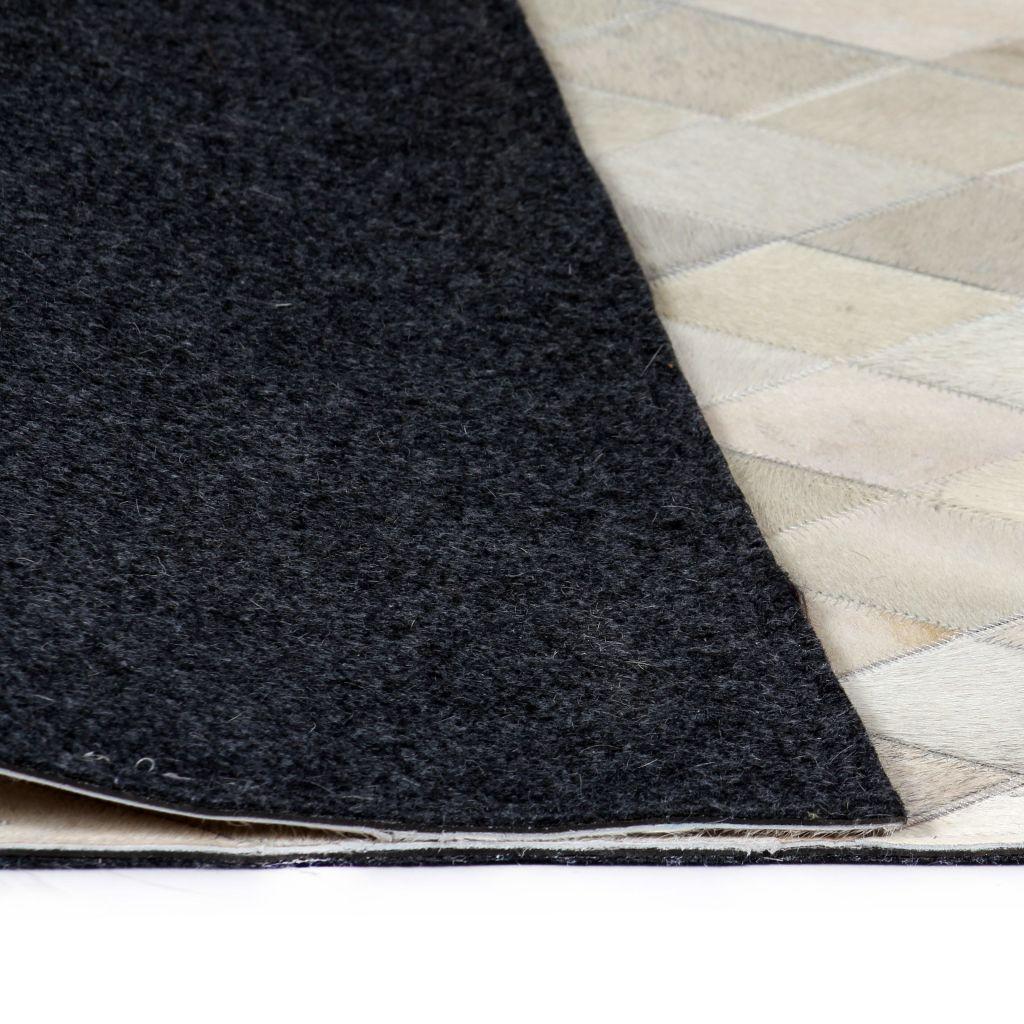 Covor petice, Romb, Piele naturală 80×150 cm Gri