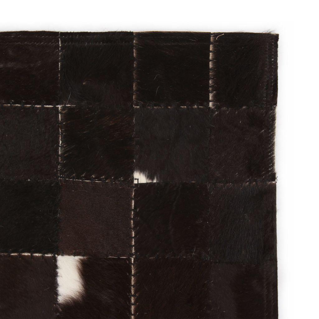 Covor piele naturală, mozaic, 120×170 cm Pătrate Negru/alb
