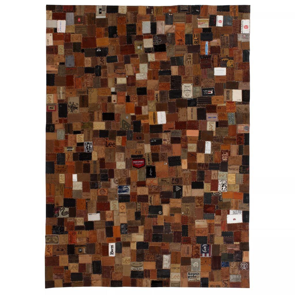 vidaXL Covor Piele naturală Colaj etichete jeans 160×230 cm Maro