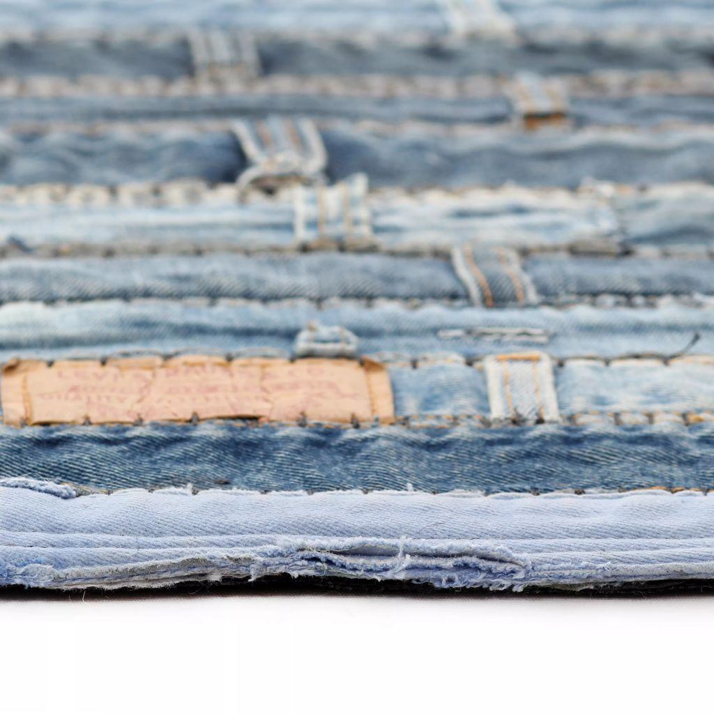 Covor petice jeans 120×170 cm Albastru denim