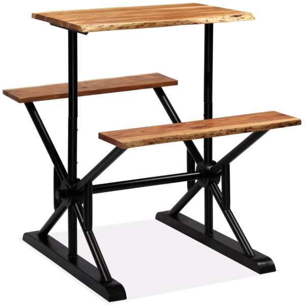 vidaXL Masă de bar cu bănci, 80x50x107 cm, lemn masiv acacia