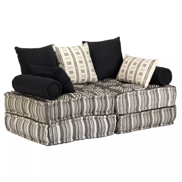 vidaXL Canapea puf modulară cu 2 locuri, gri cu dungi, material textil