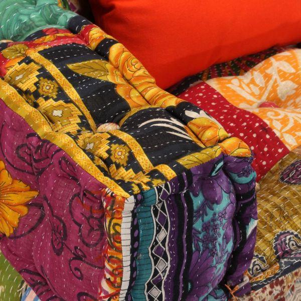 Canapea puf modulară cu 2 locuri, petice, material textil